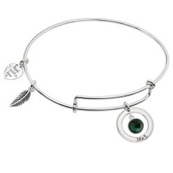 925 Sterling Silver Birthstone May Green Crystal Charm Adjustable Wire Bangle Bracelet