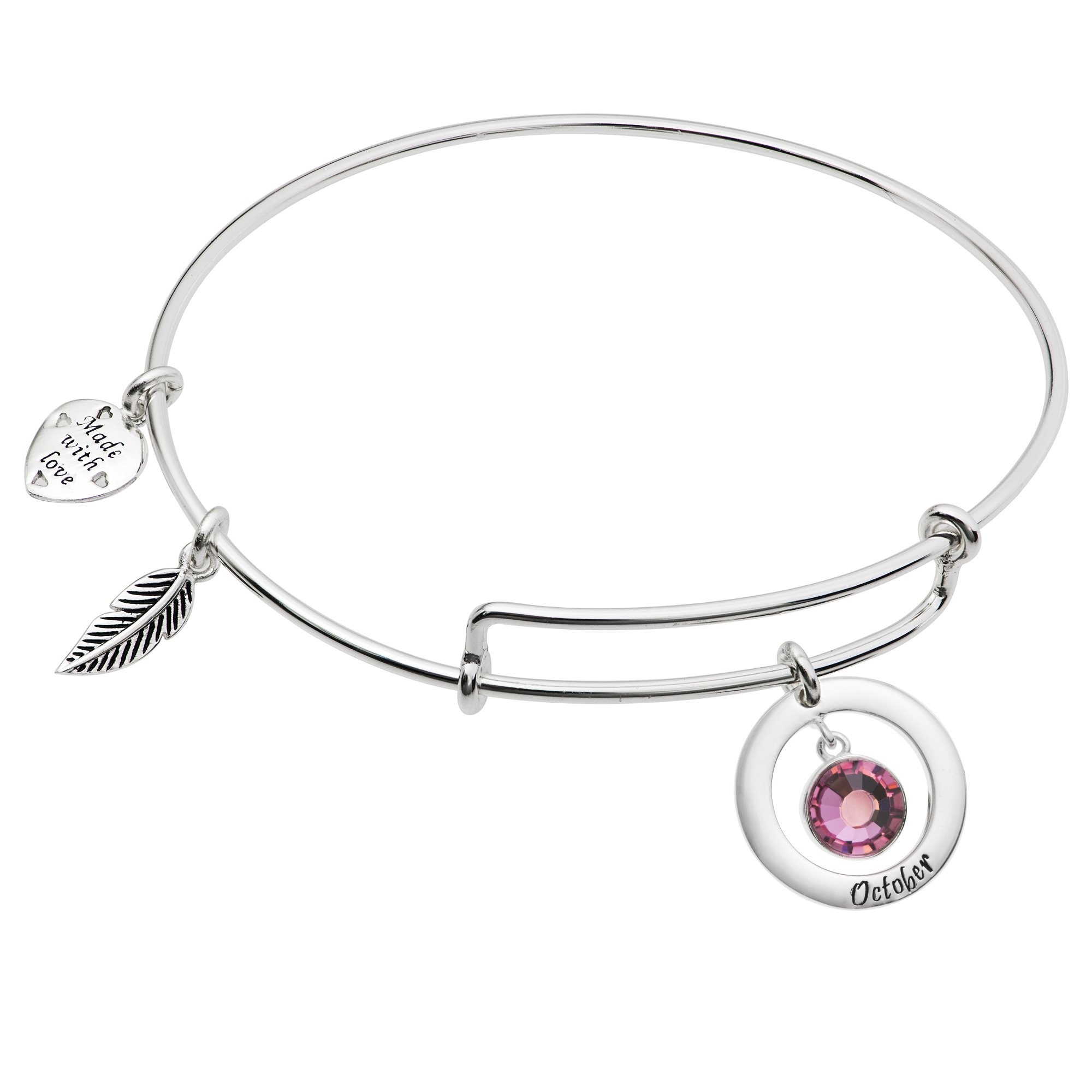 925 Sterling Silver Birthstone October Pink Crystal Charm Adjustable Wire Bangle Bracelet