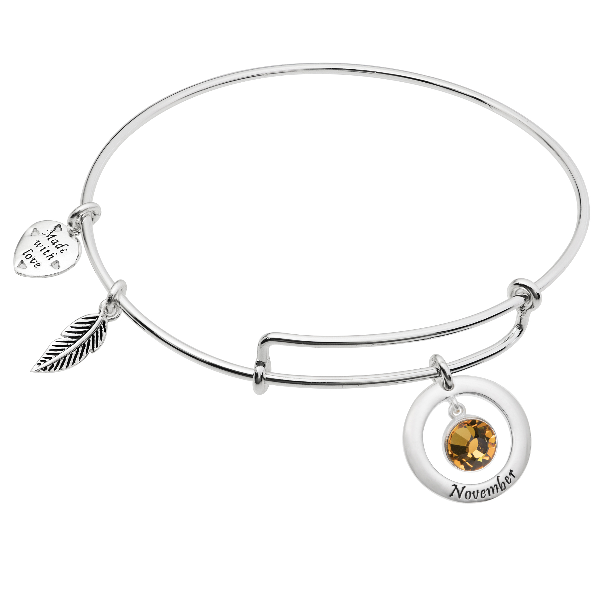 925 Sterling Silver Birthstone November Yellow Crystal Charm Adjustable Wire Bangle Bracelet