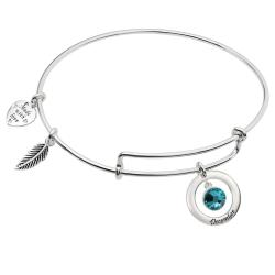 925 Sterling Silver Birthstone December Blue Green Crystal Charm Adjustable Wire Bangle Bracelet