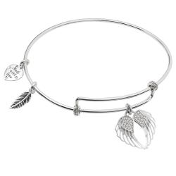 Rhodium on 925 Sterling Silver Angel Wing Clear CZ Heart Feather Dangle Charm Adjustable Wire Bangle Bracelet