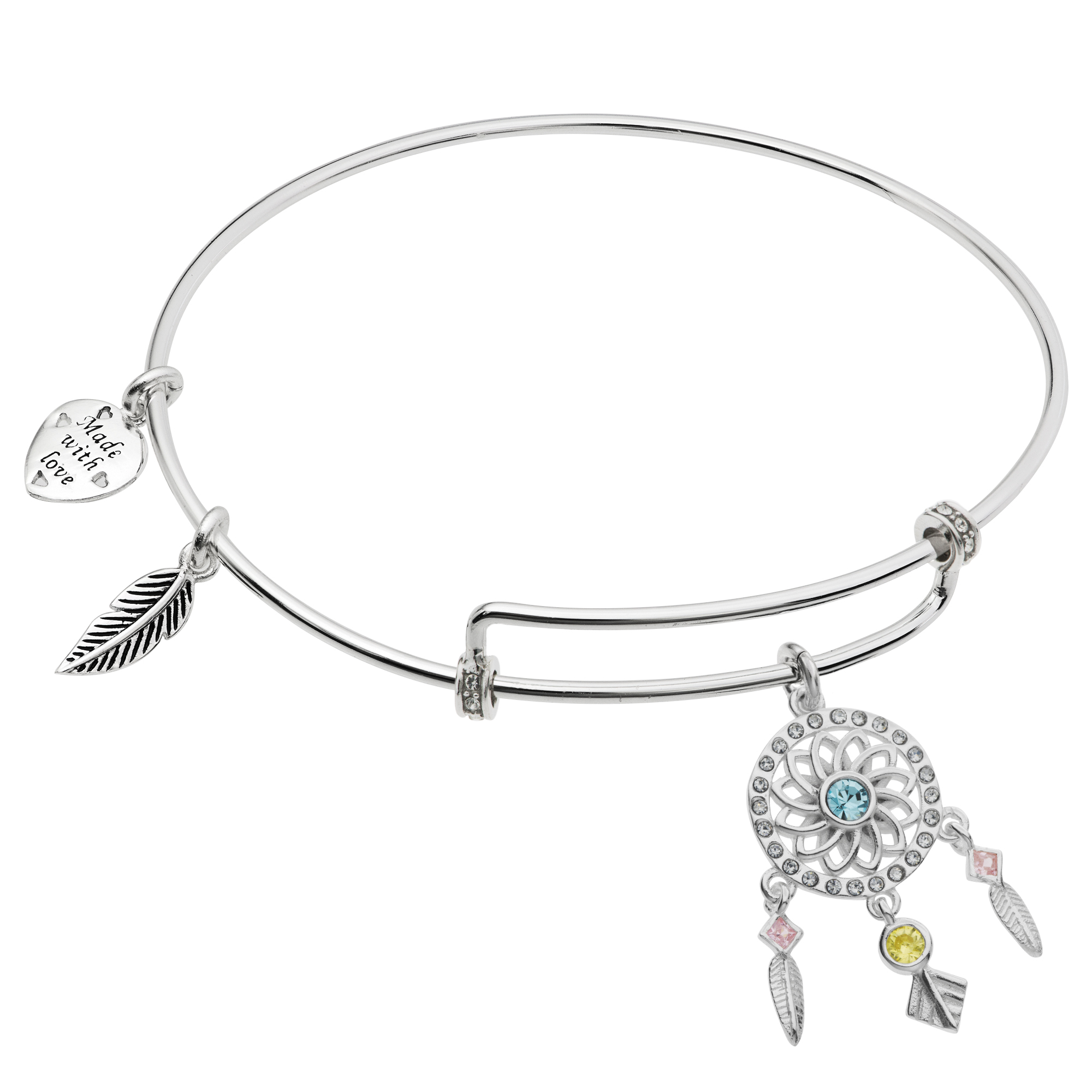 Rhodium on 925 Sterling Silver Dream Catcher CZ Dangle Charm Adjustable Wire Bangle Bracelet