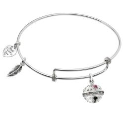 Rhodium on 925 Sterling Silver Jingle Bell CZ Dangle Charm Adjustable Wire Bangle Bracelet