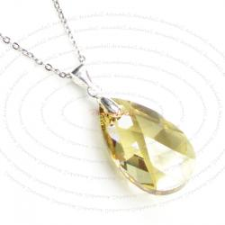 "Teardrop Golden Shadow Pendant w/ Rhodium on Sterling Silver Adjustable Chain Necklace 16"" with 2"" Extender 18"" Using Swarovski Elements Crystal"