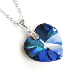 "Love Heart Bermuda Blue Pendant w/ Rhodium on Sterling Silver Adjustable Chain Necklace 16"" with 2"" Extender 18"" Using Swarovski Elements Crystal"