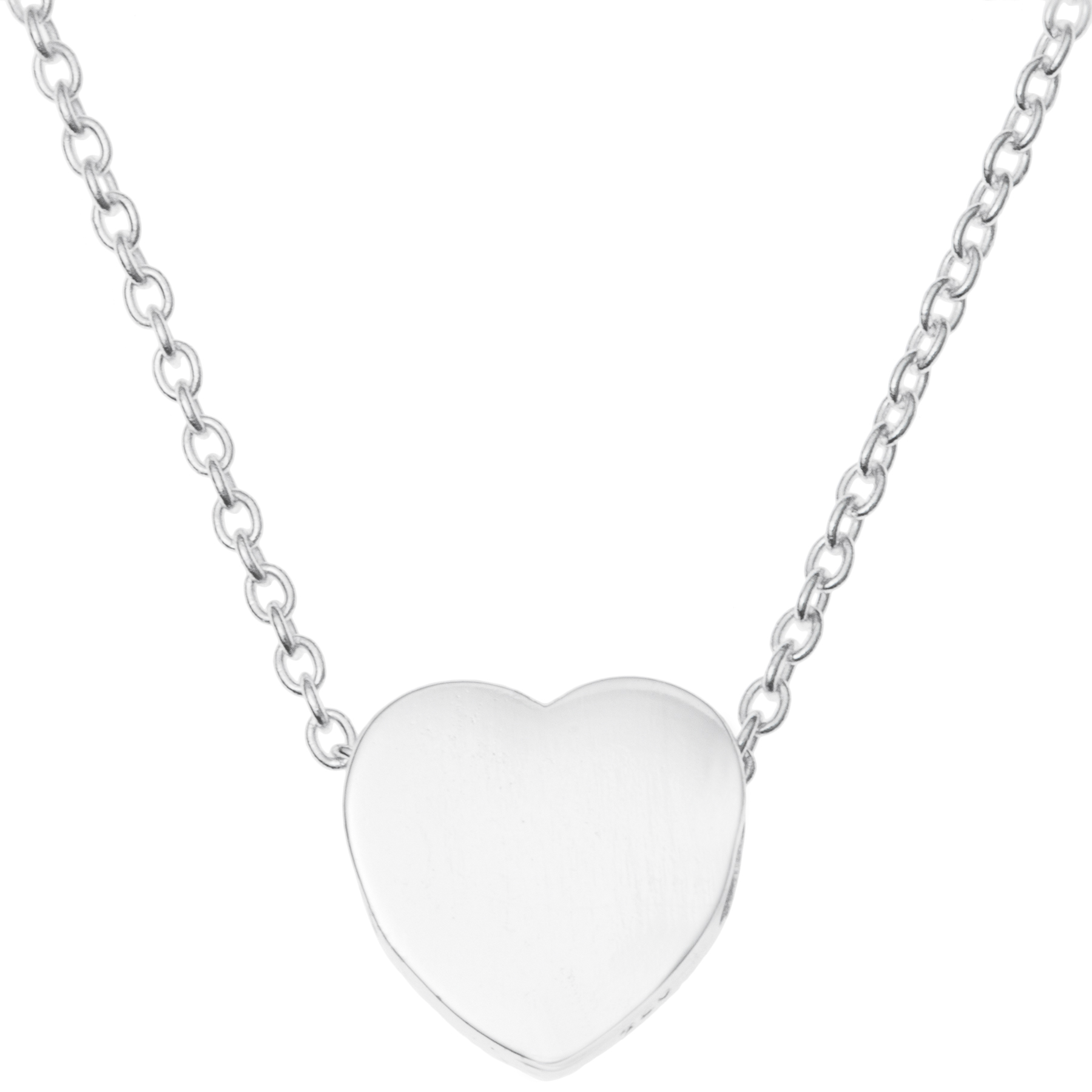 925 Sterling Silver Love Heart Dangle Charm Pendant Rolo Chain Necklace 16 Inches with 1 Inch Extender