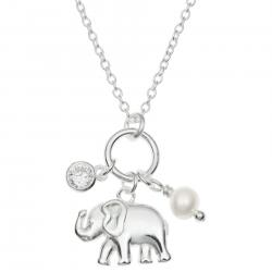 925 Sterling Silver Luck Elephant Natural Fresh Water Pearl Round Clear CZ Crystal Dangle Charm Chain Necklace 16 Inches + 1 Inch Extender