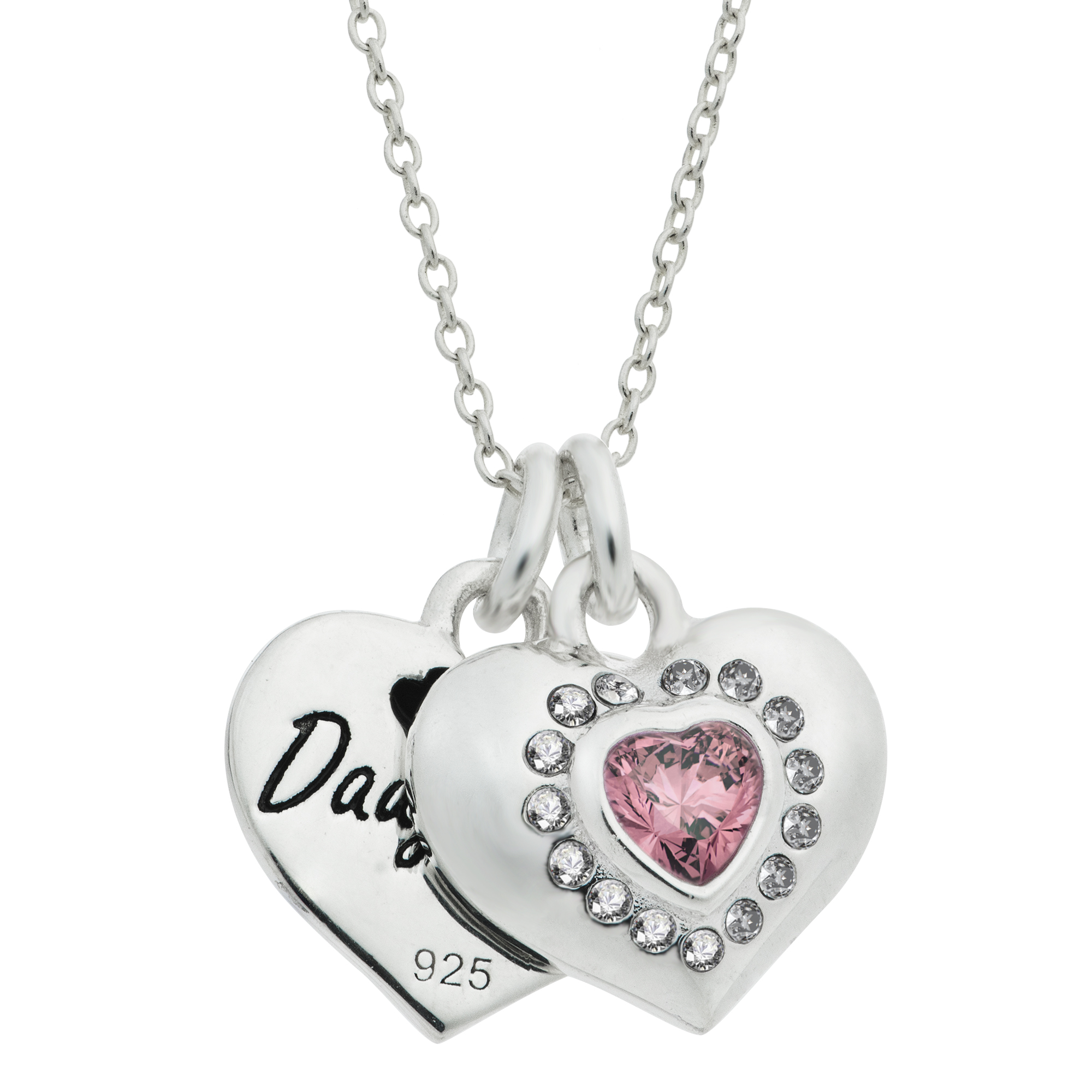 "Rhodium on 925 Sterling Silver Mom & Daughter Love Heart CZ Dangle Charm Chain Necklace 16""+2\"" Extender"