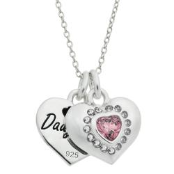 "Rhodium on 925 Sterling Silver Mom & Daughter Love Heart CZ Dangle Charm Chain Necklace 16""+2"" Extender"