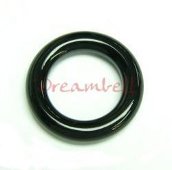 1x Black Agate  Round Ring Pendant Connector  22mm