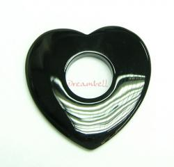 1x Black Agate Heart Donut Ring Pendant Connector 54mm
