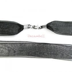 "1x Rhodium on Sterling Silver Black 1/2"" Ribbon 2-layer Choker Necklace 16"" w/ Lobster Clasp"