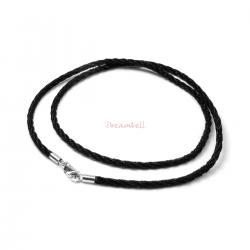 "1x Rhodium on Sterling Silver Black 2mm Silk Cord Necklace 16"" w/ Lobster Clasp"