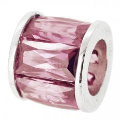 Sterling Silver Round Pink CZ Tube Bead