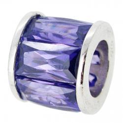 Sterling Silver Round Tanzanite Dark Purple CZ Round Tube Bead for European Charm Bracelets
