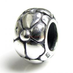 Sterling Silver Flower Bead for European Charm Bracelets