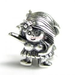 1x Sterling silver Hula Dancer Bead for European Charm Bracelets
