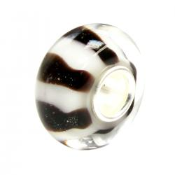 Sterling Silver Brown and Lt. Pink Glass Bead for European Charm Bracelets 12.5mm