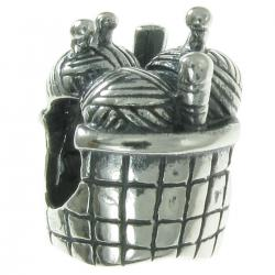 Sterling silver KNITTING BASKET Bead for European Charm Bracelets