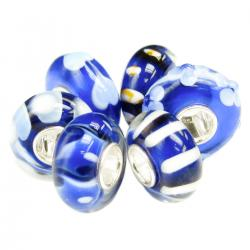 6pcs Sterling Silver Assorted Dark Blue and White Flower Murano Glass Bundle Bead for European Charm Bracelets