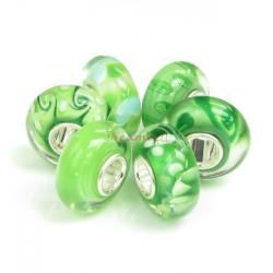 Sterling Silver Assorted Grass Green Murano flower Glass Bundle Bead for European Charm Bracelets