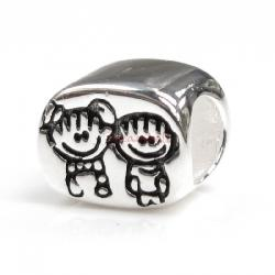 Sterling Silver Happy Boy & Girl / Brother & Sister w/ Smile Face Family Bead for European Charm Bracelets