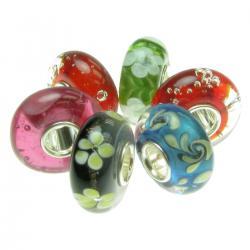 6pcs Sterling Silver Assorted Red, Blue, Green and Black Murano Bundle Glass Bead for European Charm Bracelets