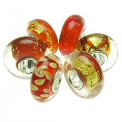 6pcs Sterling Silver Assorted Red and Gold Murano Bundle Glass Bead for European Charm Bracelets