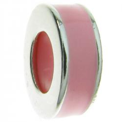 Sterling Silver Pink Rose Enamel Stopper with Rubber Round Bead for European Charm Bracelets