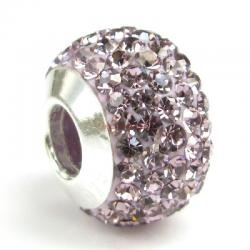 Sterling Silver Birthstone Light Amethyst Round CZ Crystal for European Charm Bracelets June