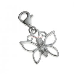 Rhodium Sterling Silver Butterfly CZ Crystal Dangle Pendant for European Lobster Clip on Charm