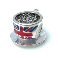 1x 925 Sterling Silver British Cup Tea Britain Flag Bead Fits European Charm Bracelet