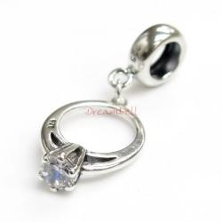 Sterling Silver Engagement Ring Clear CZ Crystal Dangle Bead for European Charm Bracelets