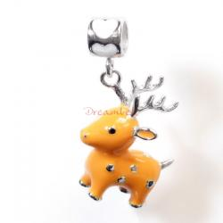 Rhodium on 925 Sterling Silver Lovely Christmas Deer Enamel Bead for European Charm Bracelets