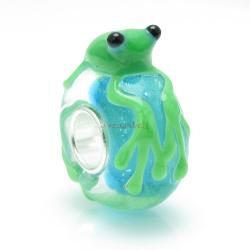 Sterling Silver Frog Glass Bead for European Charm Bracelets