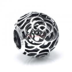 1x Antique 925 Sterling Silver Round Ethnic Rose Flower Bead for European Charm Bracelets
