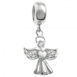 925 Sterling Silver Clear CZ Angel Dangle Bead for European Charm Bracelets