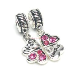 1 Set Sterling Silver Daughter Mother Love Heart Pink CZ Clover Dangle Pendant Bead for European Charm Bracelets