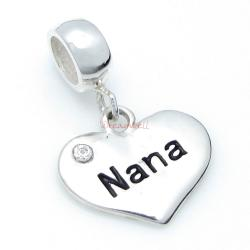 Sterling Silver Nana Heart Dangle Pendant Bead for European Charm Bracelets