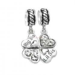 1 Set Sterling Silver Big & Lil Sis Sister Love Heart Clear CZ Clover Dangle Pendant Bead for European Charm Bracelets