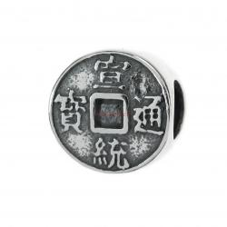 1x Antique 925 Sterling Silver Chinese Lucky Fortune Coin Bead for European Charm Bracelets