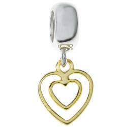 14k Gold Plated 925 Sterling Silver Valentine Double Heart Love Dangle Pendant Bead for European Charm Bracelets