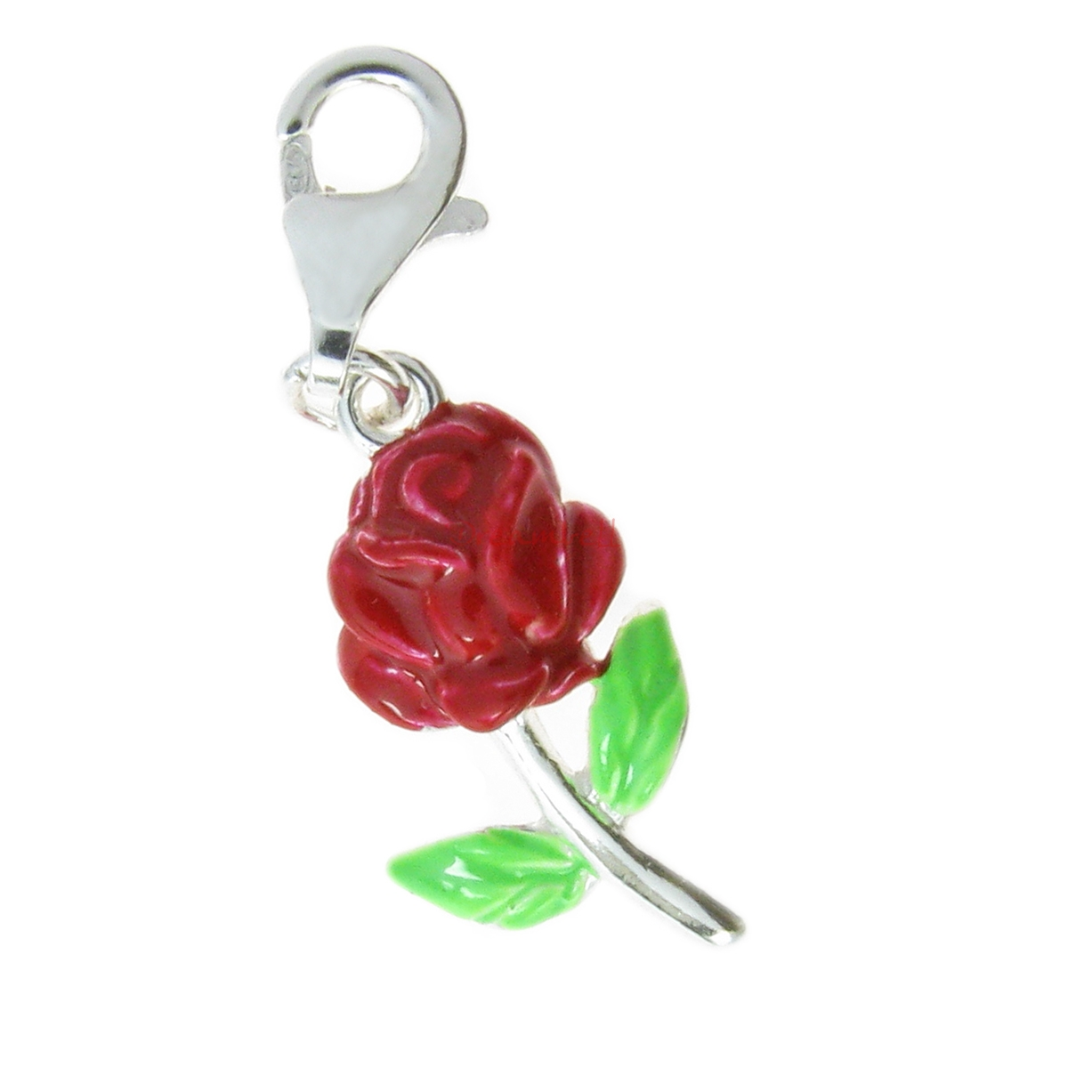Sterling Silver Enamel Valentine Rose Flower Dangle Pendant European Lobster Clip on Charm