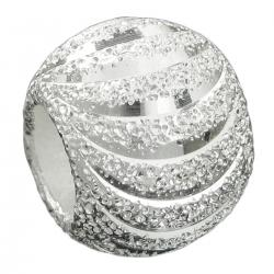 925 Sterling Silver Moon Cut Corrugated Stardust Bead for European Charm Bracelets 10mm