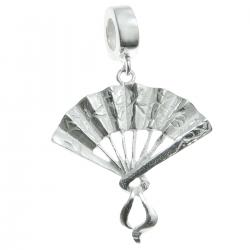 .925 Sterling Silver Chinese Fan Dangle Bead for European Charm Bracelet