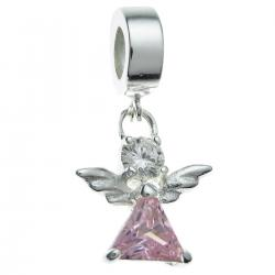 .925 Sterling Silver Little Angel Pink Clear CZ Crystal Dangle Bead for European Charm Bracelets