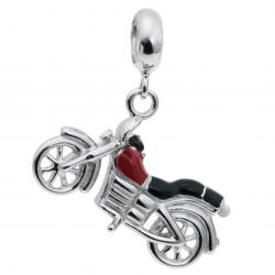 Rhodium on Sterling Silver Motorbike Red Enamel Dangle Pendant Bead for European Charm Bracelet