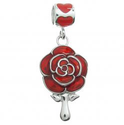 Rhodium on Sterling Silver Love Rose Flower Mirror Red Enamel Dangle Bead for European Charm Bracelet