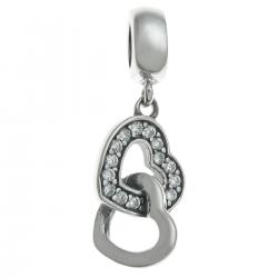 Antique 925 Sterling Silver Double Love Heart Clear CZ Crystal Dangle Bead for European Charm Bracelets