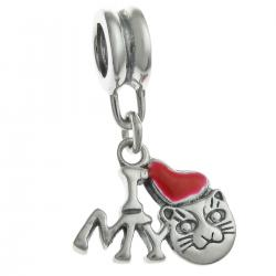 Antique 925 Sterling Silver I Love My Cat Red Enamel Heart Dangle Bead for European Charm Bracelets
